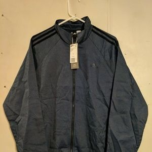 adidas Mens 3-Stripe Woven Track Top Navy Black La